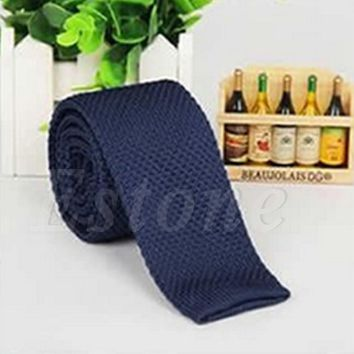 2017 Fashion Mens Solid Casual Tie Knit Knitted Tie Necktie Narrow Slim Skinny Woven