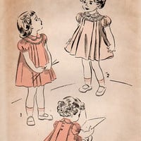 1940s Advance Sewing Pattern 5316 Toddler Girls Easter Party Dress Pleated Peter Pan Collar Short Puff Sleeves Size 2