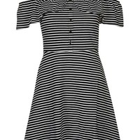 Striped Button-Up Bardot Dress