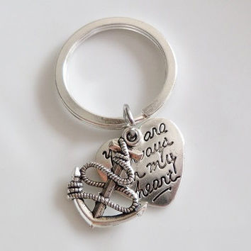 "Anchor Keychain ""you're always in my heart"" charms, best friend keychain, Sister mother daughter boyfriend girlfriend Gift"
