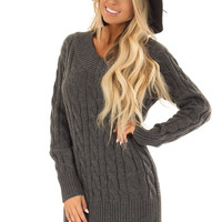 Charcoal Cable Knit Sweater Dress