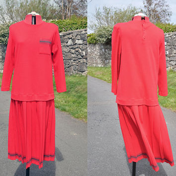 Vintage Women's One Piece Pleated Retro Red Maxi Jumper Tennis Style Dress 40's 50's Size 18
