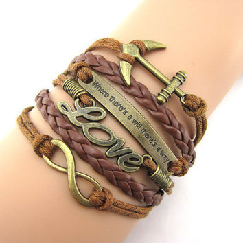 Where there is a will there is a way LOVE infinite and anchor ring boyfriend girlfriend gifts bracelet, A48