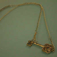 Antique brass necklace with antique key