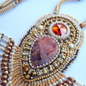Bead Embroidery Necklace - Cream Picasso Swarovski Sea Sediment Jasper Swarovski Chilli pepper Peach