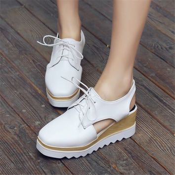 Plus Size 33-43 Summer women Platform Sandals Patent Leather Casual Square Toe High heeled wedges Woman Shoes Lace Up zapatos