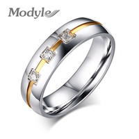 AAA Italina Jewelry Gold Plated Stainless Steel Crystal Small Ring for Women and Men