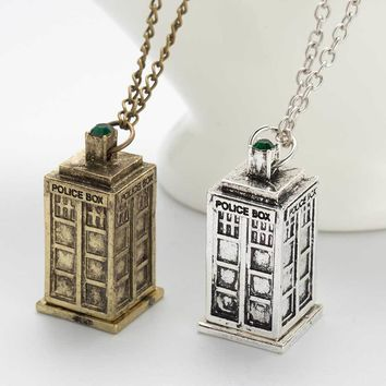 Vintage Jewelry Doctor Who 3D Antique Silver/Bronze Tardis Police Box Pewter Tall Long Chain Pendant Necklace For Men And Women