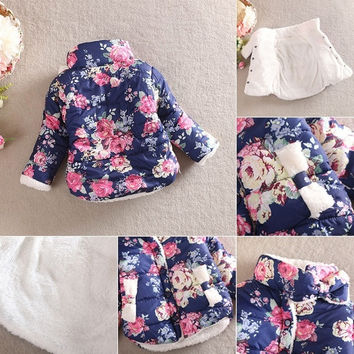 Vogue Bbay Kids Girls Winter Cotton Thick Floral Bow Coat Jackets Outerwear 2-6Y = 1930541636