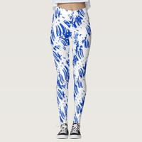Blue fractal on leggins leggings