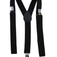 Mens / Womens One Size Suspenders Adjustable - (Various Neon Colors), Black