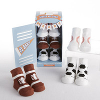 """Little All Star"" 3-Pair of Sock Baby Gift Set"