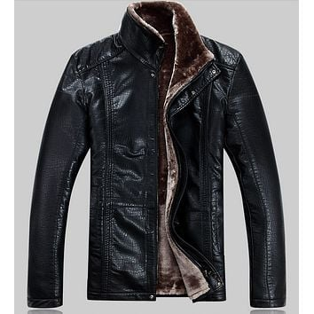 Free shipping 2015 Men's winter brand luxury fur sheep leather fur coat Lamb fur leather wool liner leather jacket / M-5XL