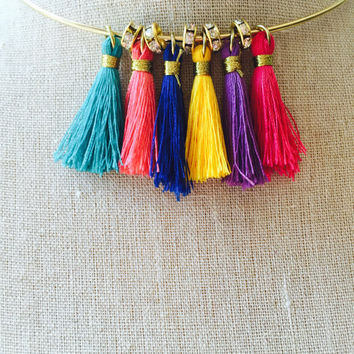 Tassel Choker Colorful Tassel Choker Necklace Fringe Necklace Tassel Necklace boho tassel choker multicolored fun summer jewelry wire choker