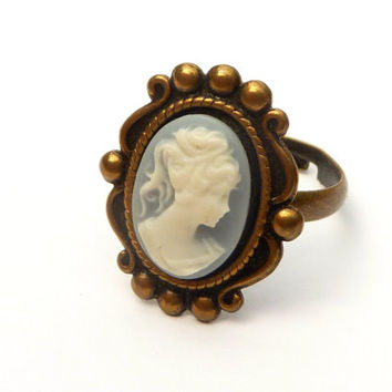 Antique ring with cameo in blue bronze medieval ring rococo baroque
