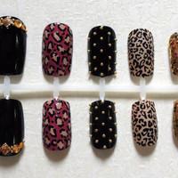 Black, Soft Red, Nude and Gold Glitter Fake Nails with Cheetah Print, Gold Studs and Beads, Amber Rhinestones, and Bling Nail Set