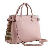 ONETOW Tote Bag Handbag Burberry Medium Banner House Check PALE ORCHID Item 39970621