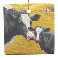 Holstein Cow and Calf Farm Square Ornament