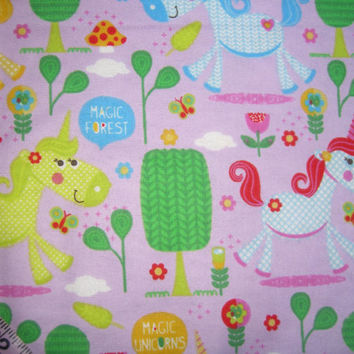 Floral Flannel fabric with unicorn horse magical print with flower cotton quilt quilting sewing material to sew by the yard crafting project