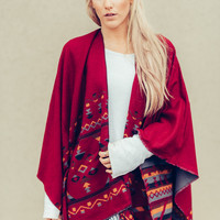 Colorful Reversible Poncho in Red
