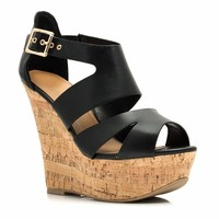 Just Cork It Strappy Platform Wedges