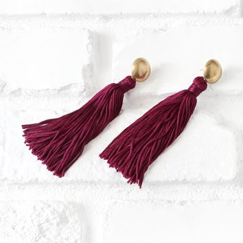 Burgundy Tassel Drop Earrings | NRFB