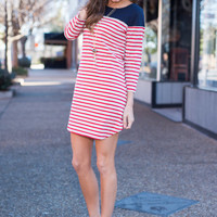 Lovely Lines Tunic, Red/Navy
