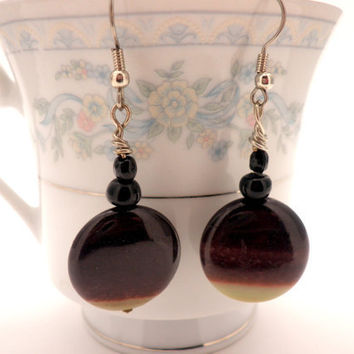 Earrings with Brown Semi Precious Stone and Black by Septagram