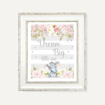 Dream Big Little One Printable - Elephant Gray Pink Party Decorations - Digital Print - Baby Girl Party Printables - Baby Shower Party Decor