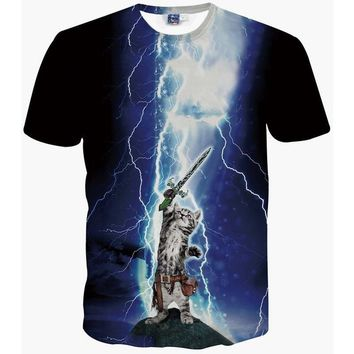 3d T Shirt Lightning Cat Summer Cool Tees Tops Brand Clothing Animation - Beauty Ticks
