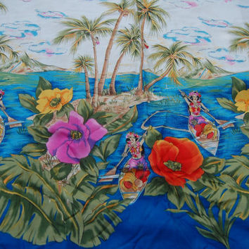 "Hawaiian Hula Girl Tropical Island Michael Miller Fabric 1 yard x 42"" wide"