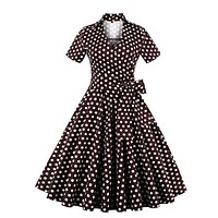 Brown & White Polka Dot Rockabilly Pinup Dress