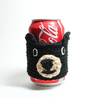Bear coffee cozy, Black Bear cup sleeve, crochet animal drink sleeve, Maine Black Bear can cozy