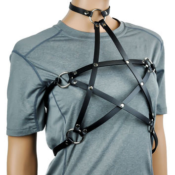 Pentagram Black Leather Women's Fashion Harness w/ Choker