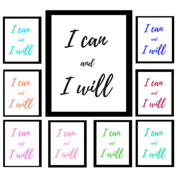 I can and I Will | Motivational Quote | Minimalist Print | Digital Download Print | Art | Binder Cover | Motivation | Custom Colors