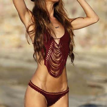 Braided Hollow Out Tassel Bikini Set Swimsuit Swimwear