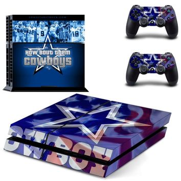 Dallas Cowboys: How Bout Dem Cowboys Vinyl Skin Sticker Decal for Sony PlayStation 4 Console and 2 controller skins