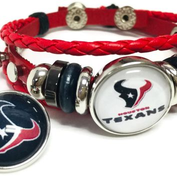 NFL Houston Texans Football Fan Red Leather Bracelet W/ Texans Logo & Blue Logo 18MM - 20MM Snap Charms