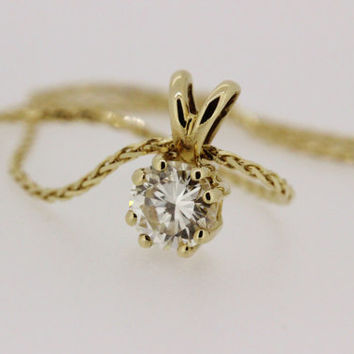 Diamond Solitaire Necklace Pendant Vintage Diamond Necklace 14k Yellow Gold Necklace 20 Inch Necklace Diamond Pendant Dainty Single Diamond