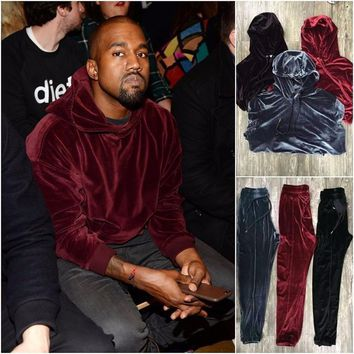 SPBEST kanye west silky tracksuits in velvet grey and red