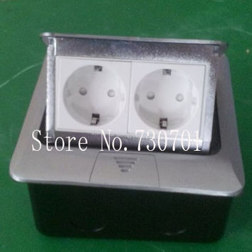Silver aluminum pop up floor socket 2EU power for Russian and European country free shipping