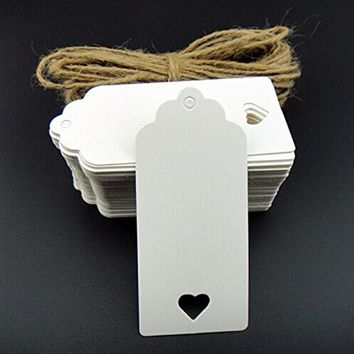 100pcs 9.5*4.5cm Hollow Heart Kraft Gift Tags Party Wedding Message Gift Tag Hang Tag,Craft Cards Label Hemp String Include
