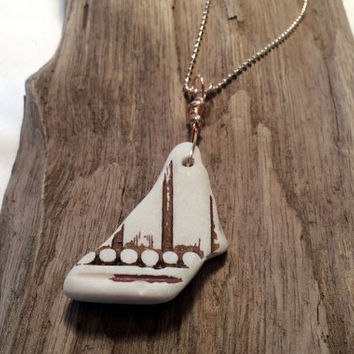 Pottery Shard Necklace Pendant Sailboat Sea Glass Art Eco Friendly Jewelry Recycled Upcycled Lake Erie