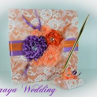 Wedding Guest Book with Orange and Purple Flowers, Wedding Guestbook, Wedding Sign In Book, Personalized Guest Book, Spring Wedding