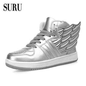 SURU Casual Shoes Women Wings Flats Ladies Footwear Lace Up Shoes Silver Black White , Size 35-40 H777