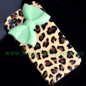 Brown Leopard Iphone 4 case with Light Green Bow by MagicValley