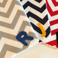 You pick 3, Baby boy Chevron Burp Cloth with Initial