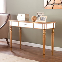 Console Table Living Room Furniture Mirrored Tabletop Champagne Gold Finish New