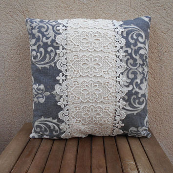 Decorative pillow, Lace pillow cover, Shabby chic pillow, Pillow cover 18x18, Grey pillow, Pillow cases, Home decor pillow