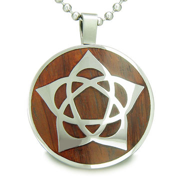 Flower of Life Wiccan Pentacle Star Cherry Wood Amulet Pendant 18 Inch Necklace